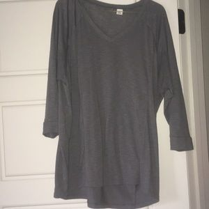 Dark Grey Cropped Sleeve Shirt